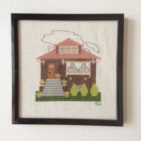 How Adorable Is This Chicago Bungalow By WindyCityStitchery On Etsy 8000