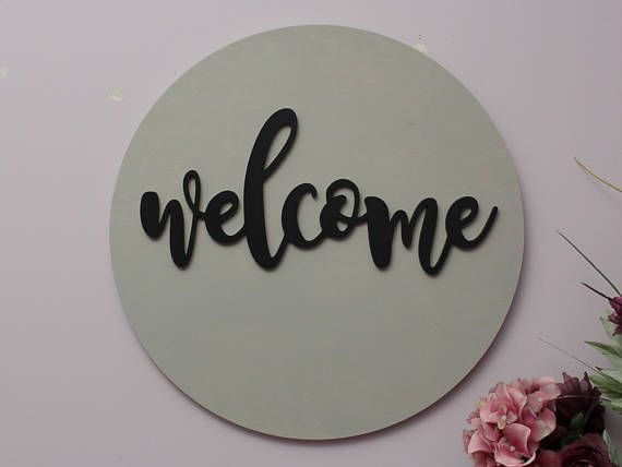 Welcome Sign Round Wood Sign Welcome Wood Sign Home Decor