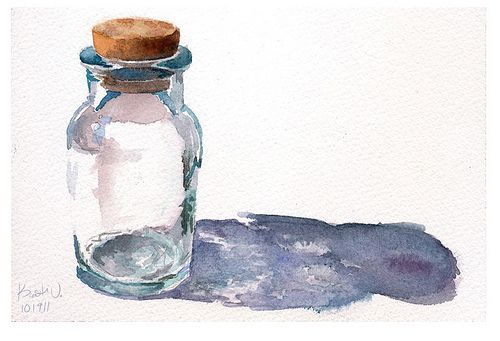 Glass Bottle in Watercolor