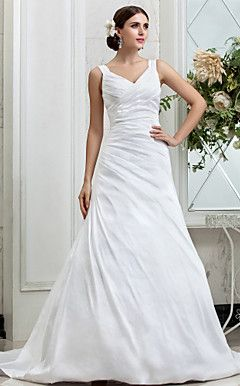 A-line V-neck Chapel Train Taffeta Wedding Dress (631162) – USD $ 199.99