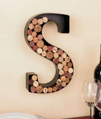 "Amazon.com - Monogram Letter ""S"" Wall Wine Cork Holder in Black Metal"