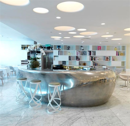 CAPPELLINI - white Ribbon stools by Nendo @Bond and Brook Restaurant