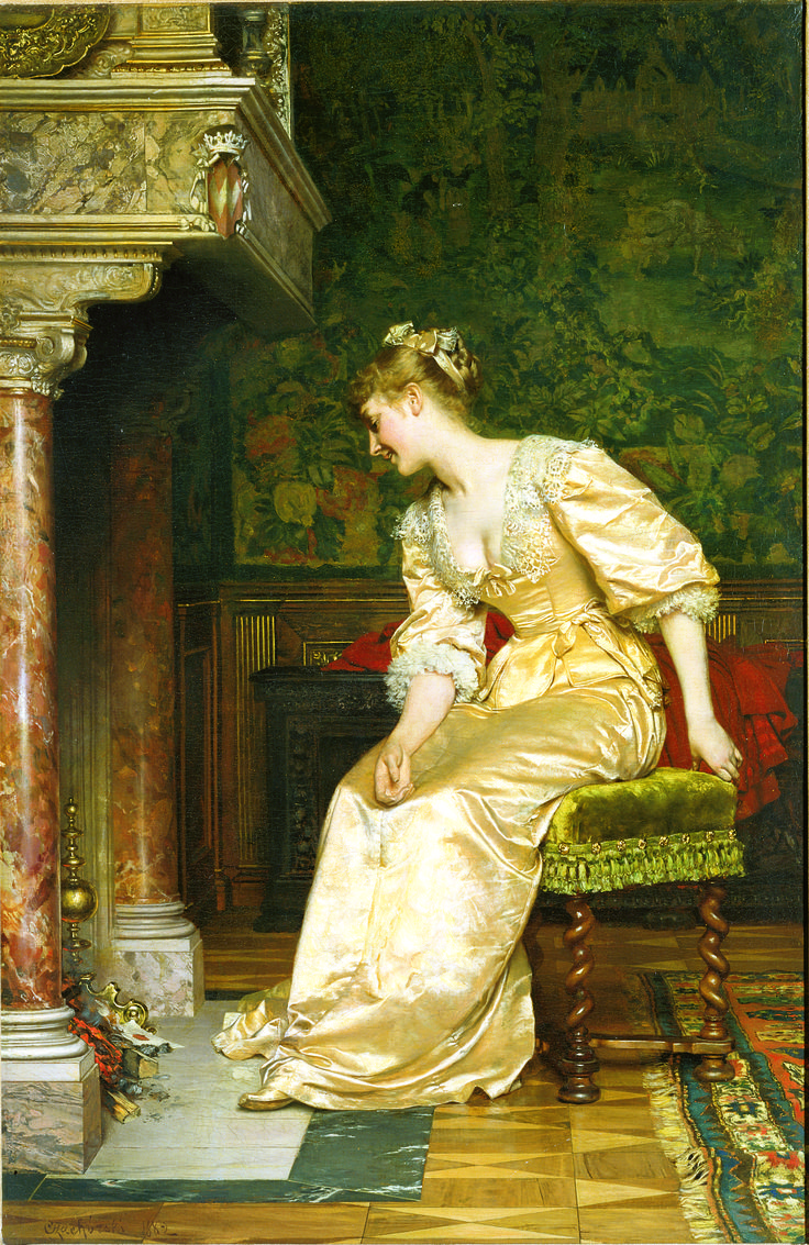 Young Lady at the Fireplace - by Wladyslaw Czachorski, ca. 1882; oil on canvas; donatedby Dr. Walter M. Golaski in memory of his wife, Helene Dolores Golaski, 1968.
