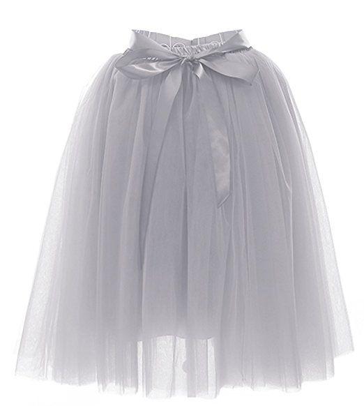 Facent Damen Knielang Tüllrock Midirock Tüll Kleid Rock Reifrock Glockenrock Abendrock Grau