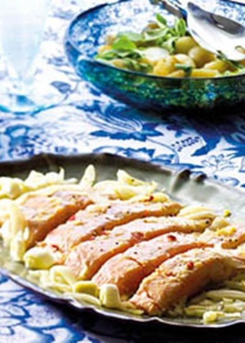 Salmão no forno com mostarda e mel