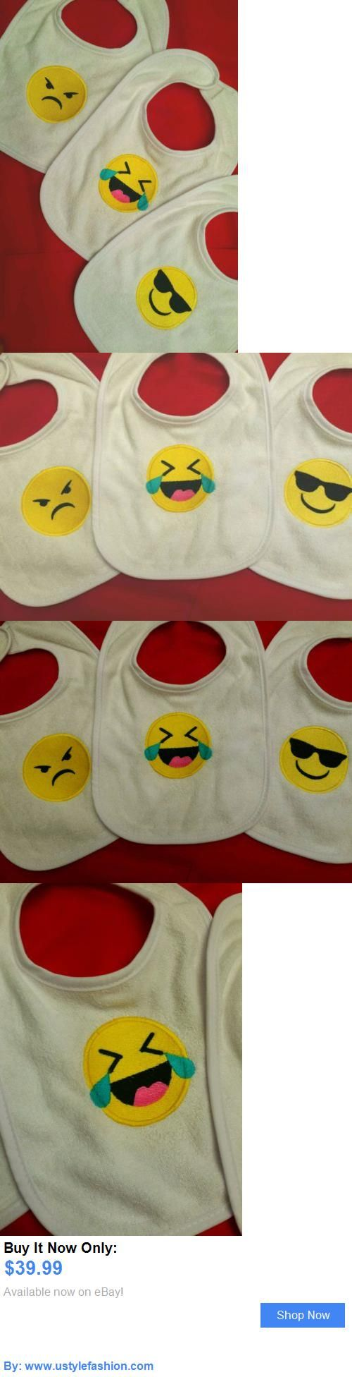 Bibs: Baby Bibs Gift Set 3 Pc. Embroidered Emoji Emoticon Trendy Boutique Custom Gift! BUY IT NOW ONLY: $39.99 #ustylefashionBibs OR #ustylefashion