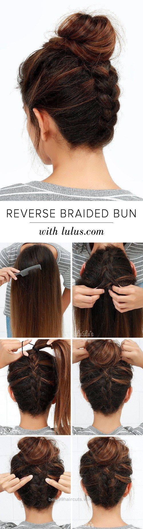 Great Upside Down Braid And Bun Tutorial. Hair ideas. A tutorial you can try on yourself. Difficult but beautiful.  The post  Upside Down Braid And Bun Tutorial. Hair ideas. A tutor ..
