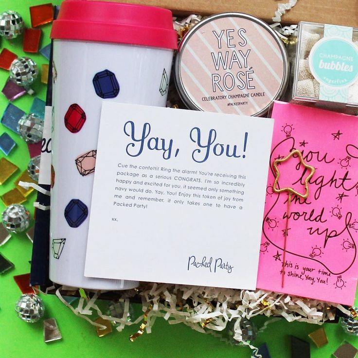 Congratulations! Need to tell someone congrats? Send them a Yay, You package from Packed Party! The perfect present for a friend that just got engaged, got promoted at work, or maybe graduated college!
