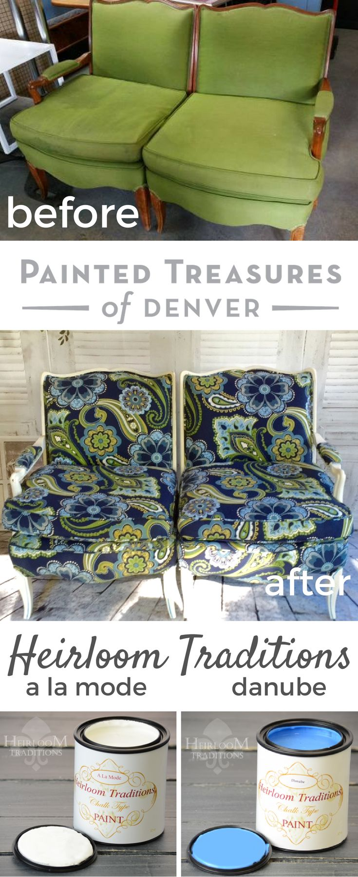 I Reupholstered Ugly Green Chairs With A Fun Floral Fabric And Repainted  Them With Heirloom Traditionu0027s A La Mode And Danube On The Trim.
