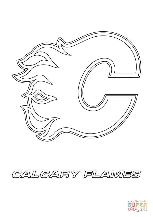 Calgary Flames Logo Coloring Page Free Printable Coloring Pages Sports Coloring Pages Calgary Flames Coloring Pages