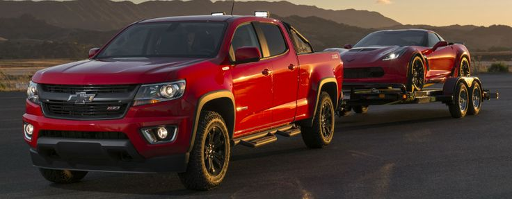 Official 2016 Chevy Colorado Diesel Fuel Economy Specs at Barkau Automotive-Rockford IL-Red 2016 Cheyv Colorado Duramax with Trailer