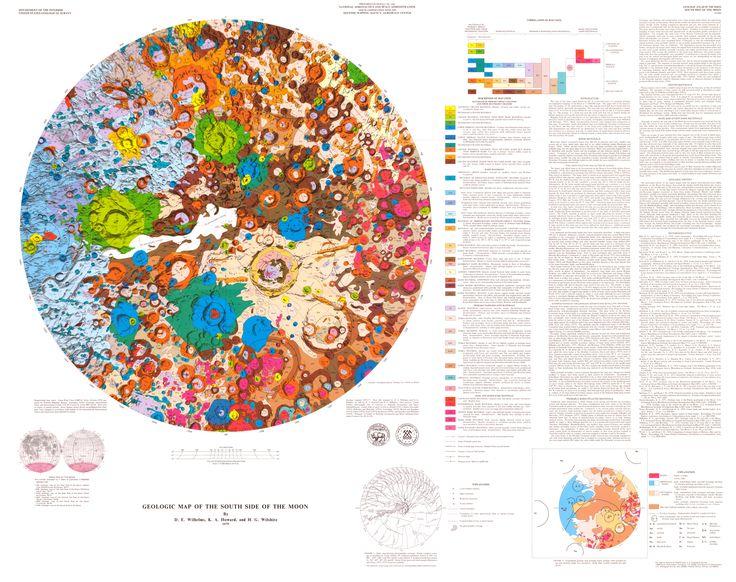 Carte géologique de l'hémisphère Sud de la Lune