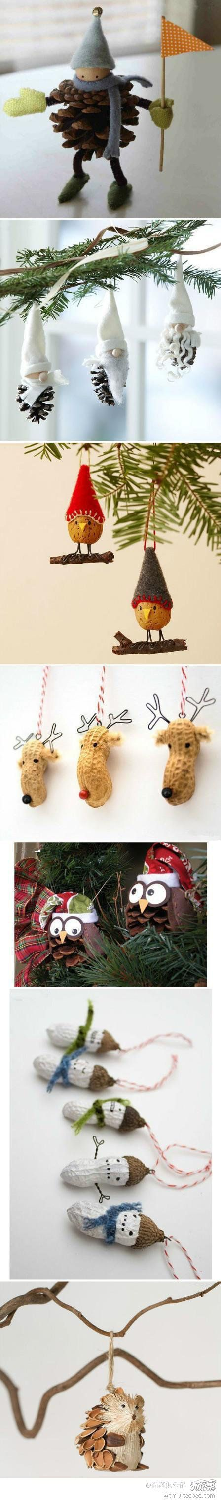 DIY Craft Inspirations - seriously cute ornaments crafted from pinecones, peanuts...