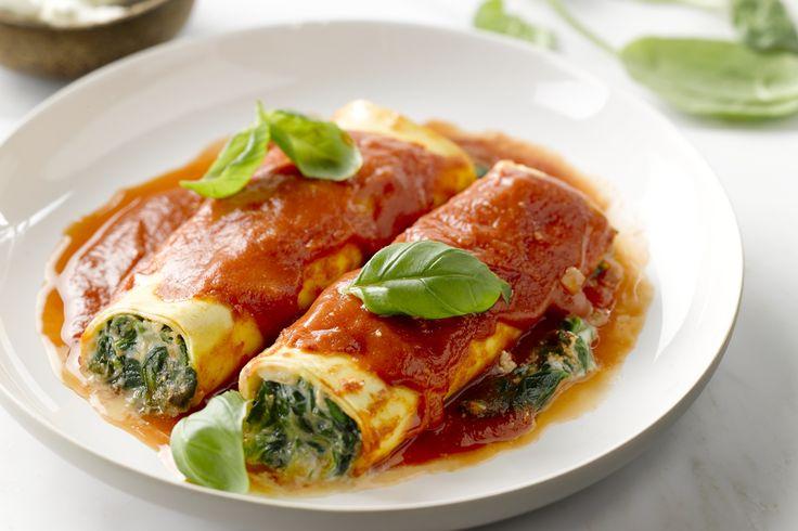 ovenschotel - cannelloni, spinazie, ... - Verwarm de oven voor op 200 °C.
