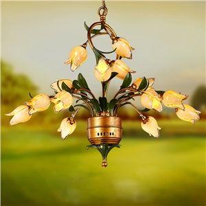 (EU Lager)Florentiner Hängeleuchte Led Glas Tulpen Design 15-flammig