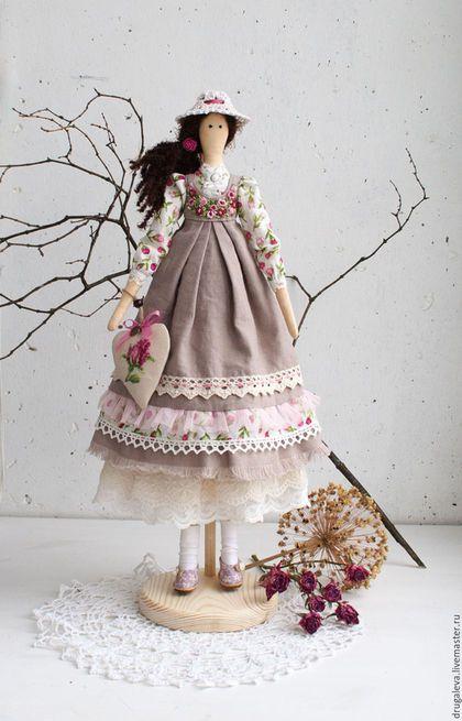 Купить Интерьерная кукла тильда Полина, текстильная кукла - бежевый, тильда, кукла ручной работы
