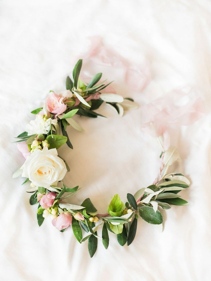 Blush and pink flower crown. Photography by Stephanie Swann