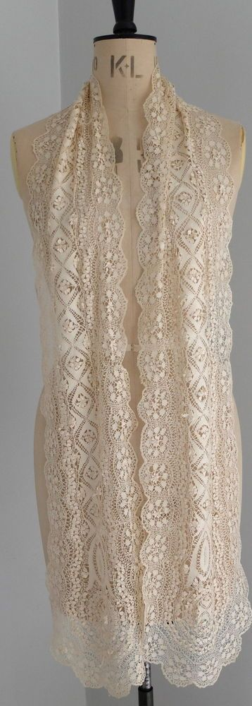 Antique/vintage silk Maltese lace scarf  £92.11 (32B)