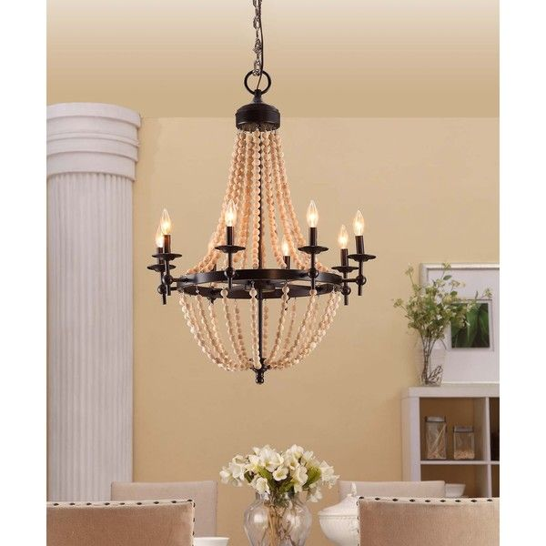 Sonoma natural beaded black 8 light chandelier