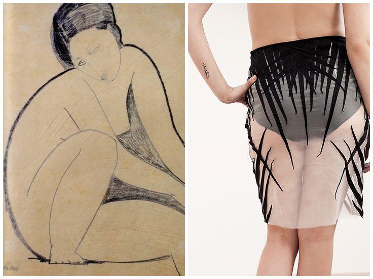 Inspiration behind Elena Ciuprina Spring 2015 collection./ Art. Modigliani nude.