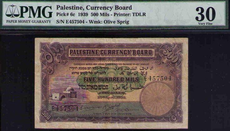 Palestine, Currency Board 1939 500 Mils, PMG 30 VF, British Mandate Pick #6c