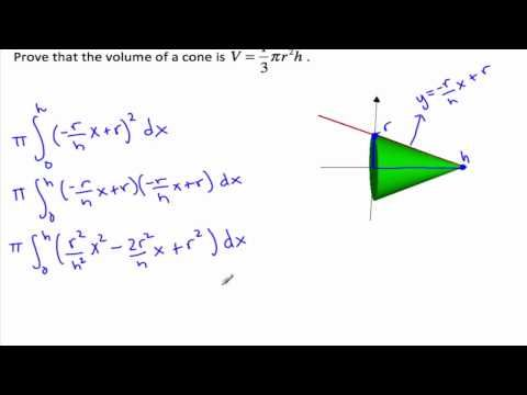 Proof for volume of a cone - Volumes of Revolution - YouTube