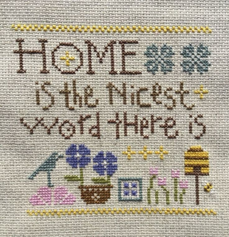 completed finished cross stitch Lizzie Kate HOME is the Nicest word there is   | eBay