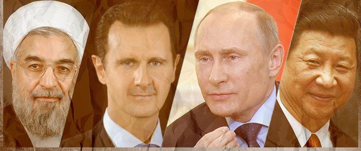 Big 4 of Syria conflict: Hassan Rouhani (Iran), Bashar al-Assad (Syria), Vladimir Putin (Russia), and Xi Jinping (China)
