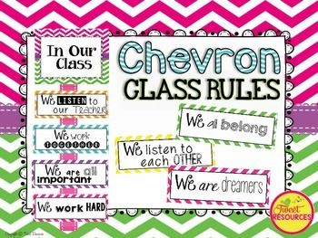 Classroom Rules; classroom rules in Chevron; classroom rules with a positive spin!EDITABLE cards included!Display your classroom rules with this stylish chevron themed poster set. This display was made with a positive spin, and a selection of rule cards have been created for your personal preference.