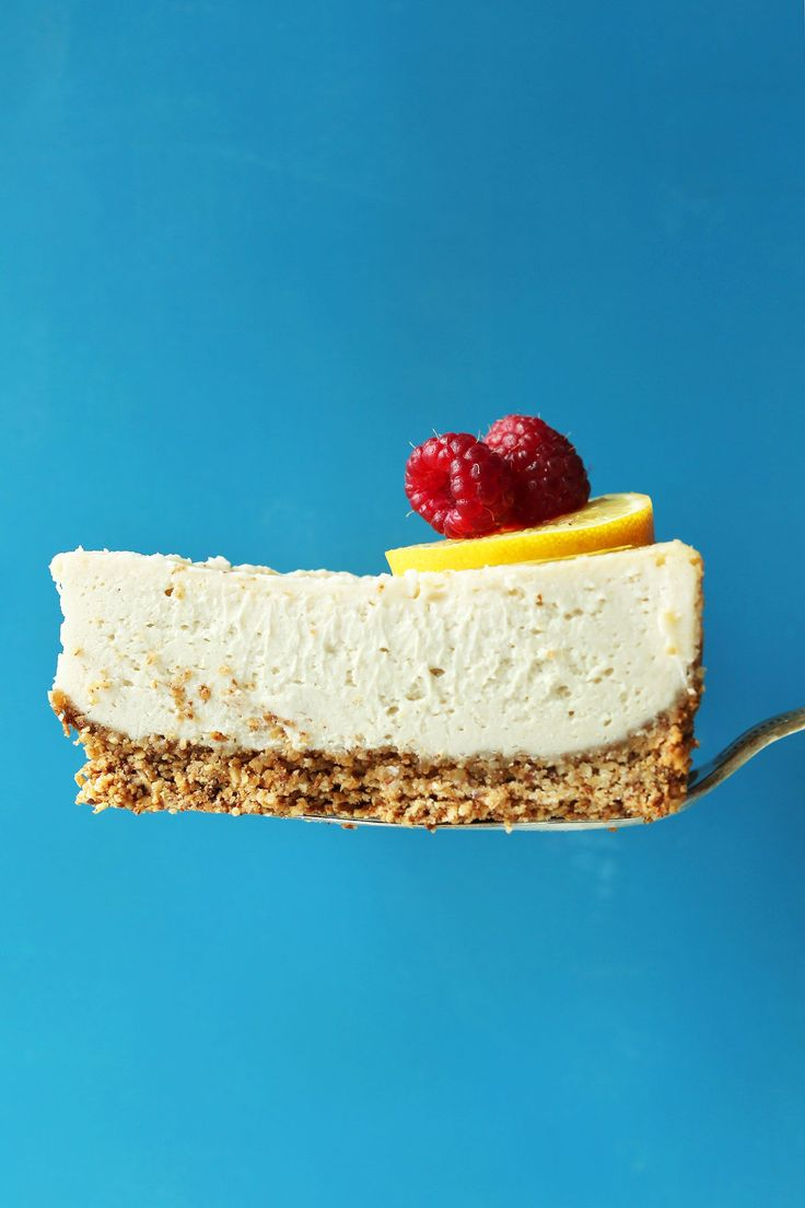 """Amazing baked vegan cheesecake with a simple oat-almond crust that tastes like graham crackers! The closest thing to """"real"""" cheesecake I've ever tasted."""