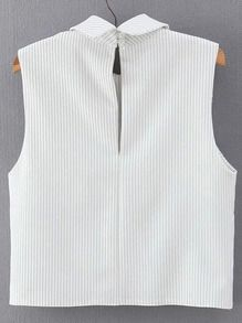 Vertical Striped Wrap White Shirt -SheIn(Sheinside)