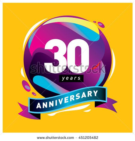 30th years greeting card anniversary with colorful number and frame. logo and icon with circle badge and background