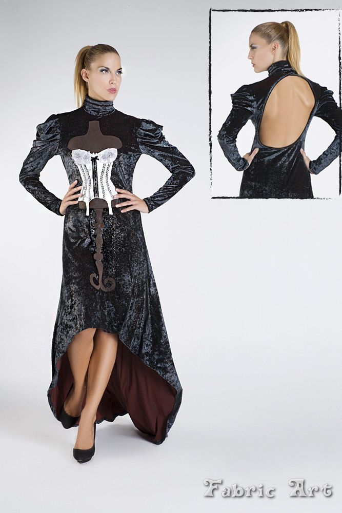 "Velvet turtleneck dress with tail and handmade applique ""Vintage Corset""."