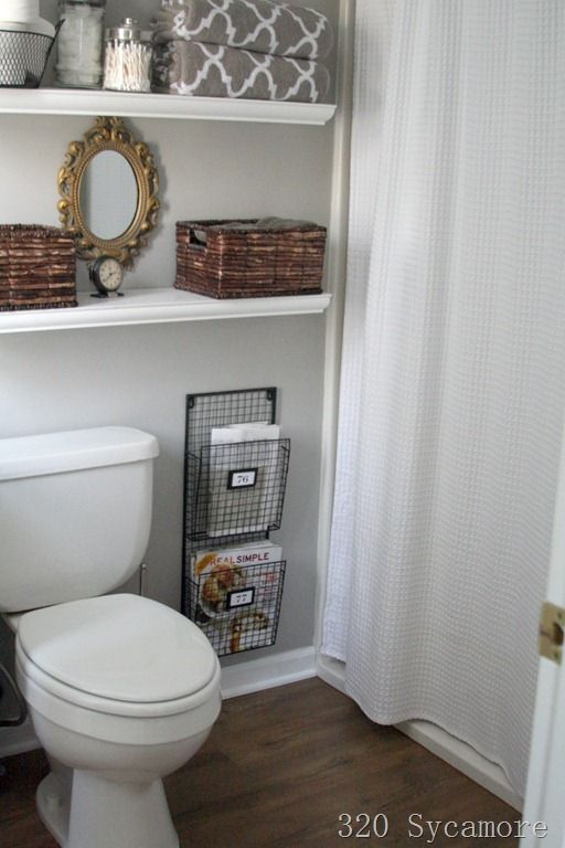 open shelves above the toilet: Floating Shelves, Toilet, Small Bathrooms, Magazines, Bathroom Ideas, Magazine Racks, Magazine Holders, Master Bathroom
