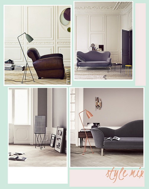 Loving the coral/pink lamp and blue-grey sofa...what beautiful shapes too!