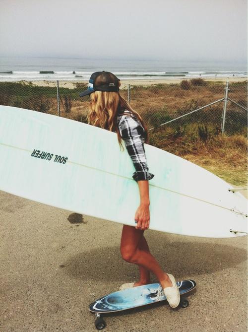 surfboard  skateboard  beach  cali girls