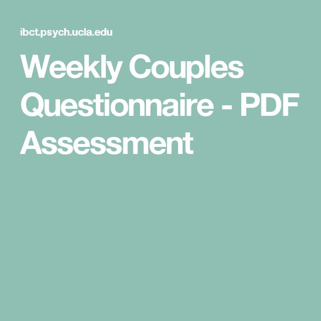 Weekly Couples Questionnaire - PDF Assessment