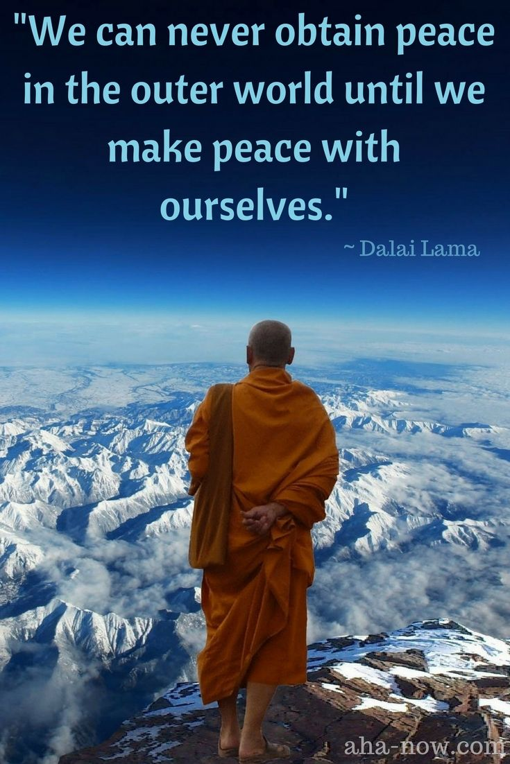 """""""We can never obtain peace in the outer world until we make peace with ourselves."""" ~ Dalai Lama"""