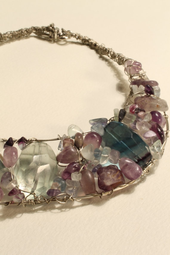 Chunky Wire Wrapped Rainbow fluorite Necklace by HavenHummingbird, $85.00