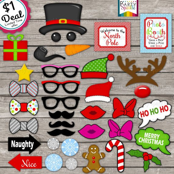 Dollar Deal - INSTANT DOWNLOAD -  Christmas Photo Booth Picture Props 37 Images- Mustache, Glasses, Snowman - Digital pdf file