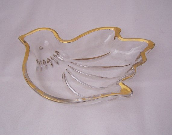 Vintage Glass Gold Rimmed Bird Candy Dish by thesecretcupboard