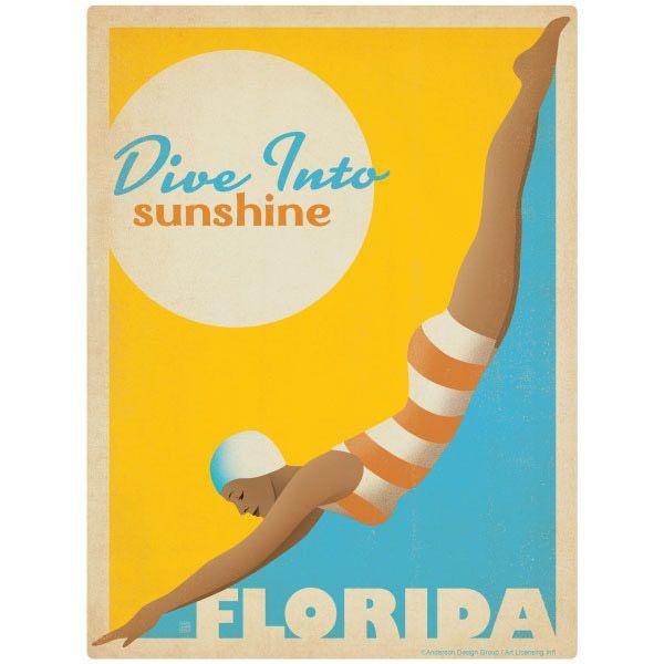 Dive Into Sunshine Florida Wall Decal