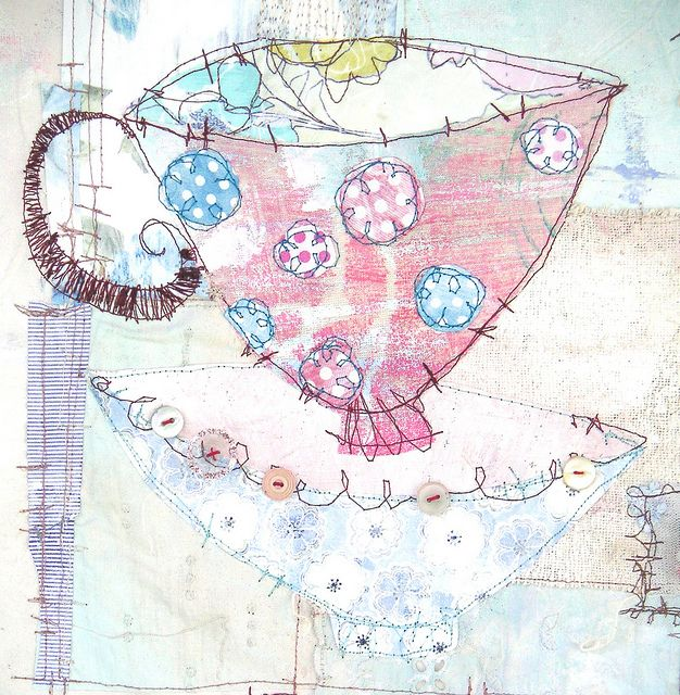 Teacup fabric collage with free motion quilting by Priscilla Jones