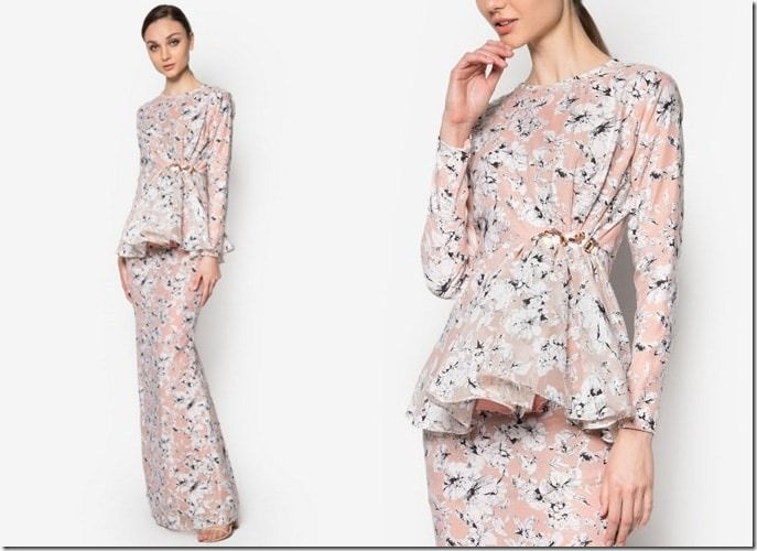 peach-floral-peplum-kurung / 7 Modern Baju Kurung Ideas To Wear Come Eid 2016