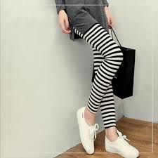 Image result for black and white striped leggings outfit
