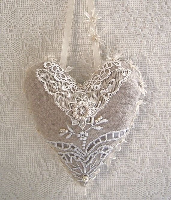 Items similar to vintage linen and lace hanging heart on Etsy