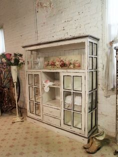 Farmhouse Cabinet Repurposed Windows - The Painted Cotttage via KnickofTime
