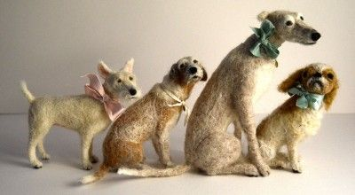 Domenica More Gordon's needle felted dogs - read how she came to make them in an interview with the artist on Yatzer. - See more at: http://www.dailyartmuse.com/2013/09/10/needle-felted-animals-wool-paintings-and-more/#sthash.AGdrKVn2.dpuf