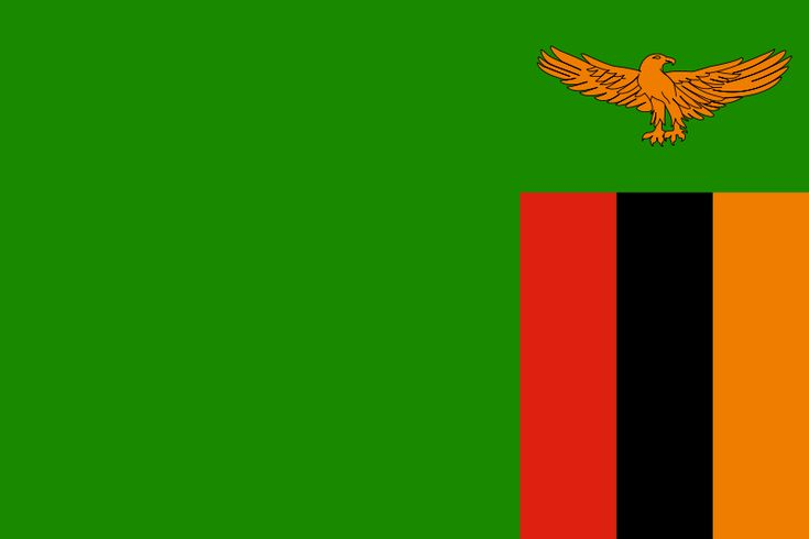 Zambia - The flag was adopted October 24, 1964. Green represents agriculture, orange the country's copper, red symbolizes the struggle for freedom, and black represents the people.     The eagle is from the country's official coat of arms.
