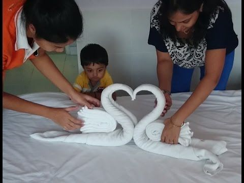 How to make Towel art | Towel Origami Swans | Towel Folding | Towel Animals - YouTube